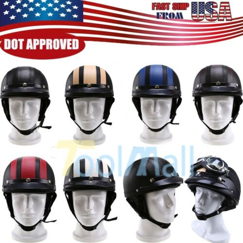 2018 DOT ECE Motorcycle Leather Half-Open Face Helmet With Sun Visor & Goggles