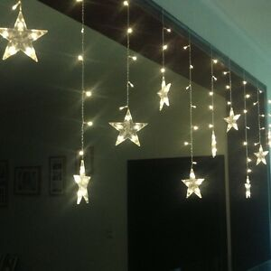 White curtain fairy lights