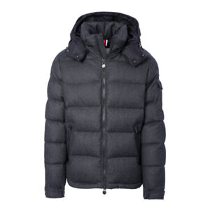 Moncler Montgenevere down jacket in dark grey wool, size 4