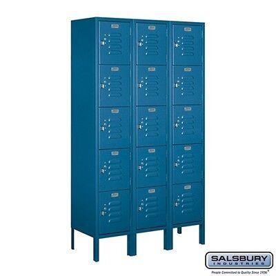 Standard Metal Locker Five Tier Box Style 3 Wide 5 High 12 Deep Blue 65352bl-u