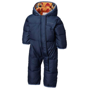 Columbia Snuggly Bunny Bunting Down Snowsuit Navy Blue/ Orange