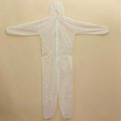 Painter Doctor Disposable Coverall Overall Dust Protect Suit Hood White Nonwoven