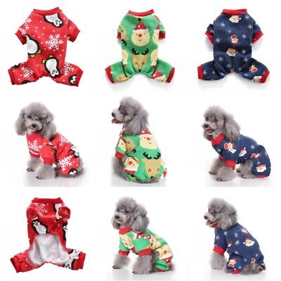 Christmas Pet Dog Jumpsuit Pajamas Puppy Cat Coat Clothes Xams Costume Apparel](Christmas Dog Costume)