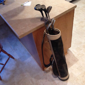 Old golf clubs with bag