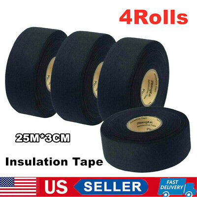 4x 25m Wiring Loom Tape Adhesive Cloth Fabric Harness Insulation Electric Tape