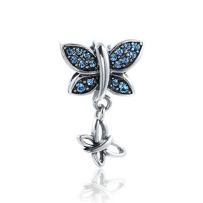 Sterling Silver Sparkling Butterfly Blue - Gift Packing Included - Wedding Gift