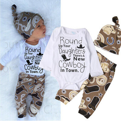 Cowboy Newborn Baby Girl Boy Clothes Bodysuit Romper Jumpsuit Playsuit Outfits (Cowboy Girls Outfits)