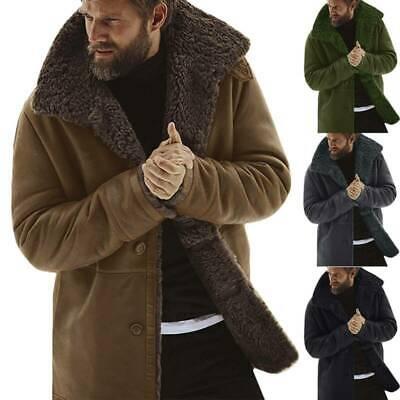 Jacket Coat Trench Lapel Fleece Parka Fluffy Casual Winter Lined Mens Fur -
