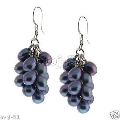 Genuine Black Grape Cultured Freshwater Pearl Cluster 925 Silver Hook (Cultured Freshwater Pearl Cluster)