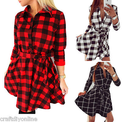 US Women Bodycon Plaid Skirt Middle Sleeve Casual Shirt Dress Waist Strap Blouse (Tartan Plaid Dress)