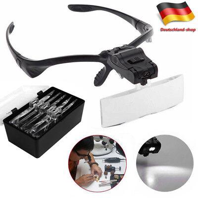 2-LED Licht Kopflupe Stirnlupe Lupenbrille Brillenlupe Lupe mit 5 Vergrößerungs online kaufen
