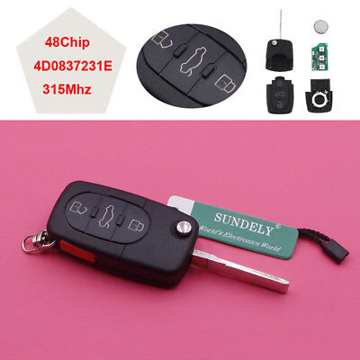 Keyless Remote Control Car Key Fob 3+1 Button 315MHz for Audi A4 A6 A8 TT S4