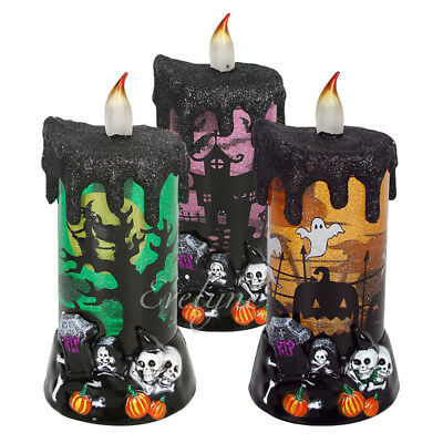 Halloween LED Water Snow Globe Candle Skull Light Decoration Lamp for - Halloween Water Globes
