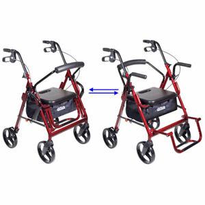Rollator Transport Chair Rolling Walker w Seat Wheel Lightweight