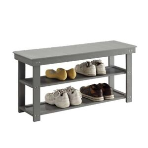 Remarkable Convenience Concepts Oxford Utility Mudroom Entryway Bench In Gray Machost Co Dining Chair Design Ideas Machostcouk