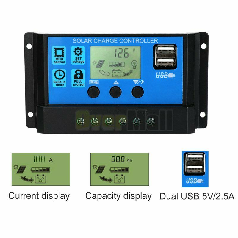MPPT Solar Panel Regulator Charge Controller Auto Focus Tracking 30-100A 12V/24V 4