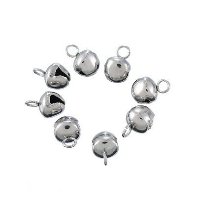 10PCs Stainless Steel Small Bell Pendants For Necklace Punk Men DIY Fashion