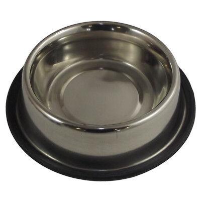 Non Slip Dog Bowl Stainless Steel Pet Feeding Drinking Bowl Dish 19cm NEW