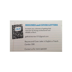 Professional resume and cover letter writers *See special