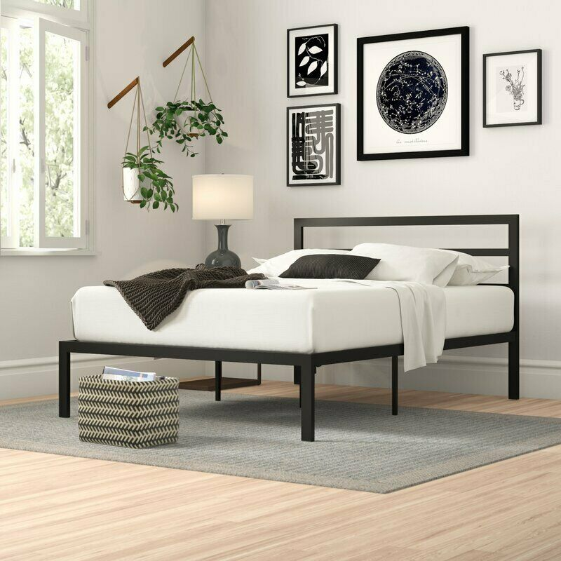 Modern Metal Platform Bed Frame Base with Headboard Mattress