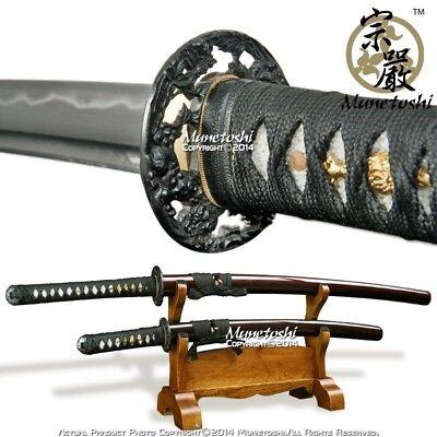 Munetoshi Lion Dog Handmade DH Steel Samurai Katana Wakizashi Sword Daisho Set