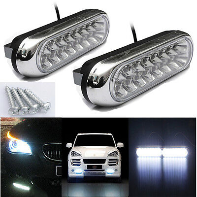 2x 16 LED Unversal Car Van Day Driving Daytime Running DRL Fog White Light Lamps