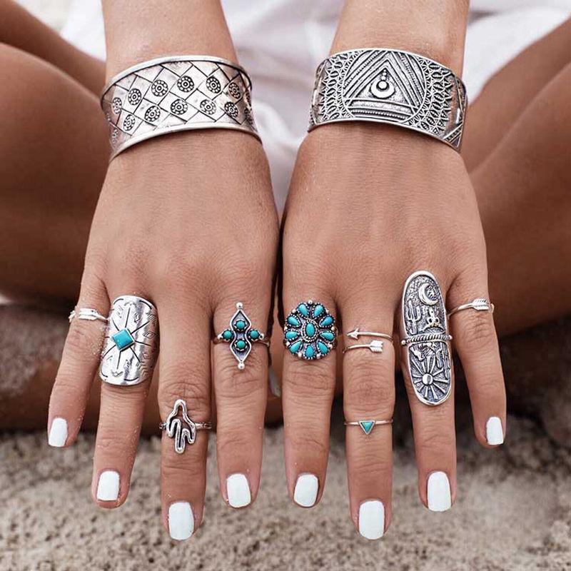 9-Piece Ring Set, Turquoise, Cactus, Bohemian Boho Hippie St