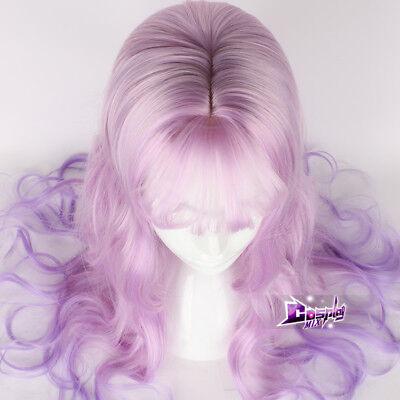 65CM Lolita Harajuku Women Mix Light Pink Long Curly Hair + Wig Cap Cosplay Wig