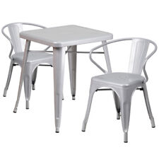 23 75 Quot Square Silver Metal Indoor Outdoor Table Set With 2