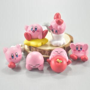 6pcs/set Anime Cartoon Cute Kirby PVC Figures Toys with Keychain Pendants 4cm