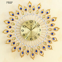Diamond Peacock Iron Art Wall Clock Bedroom Wall Watch Home Decor Wedding Gift