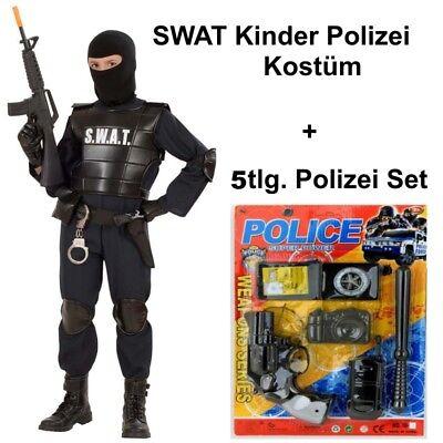 SWAT Officer mit 5 tlg Polizei Set Kinder - Kind Swat Polizei Kostüme