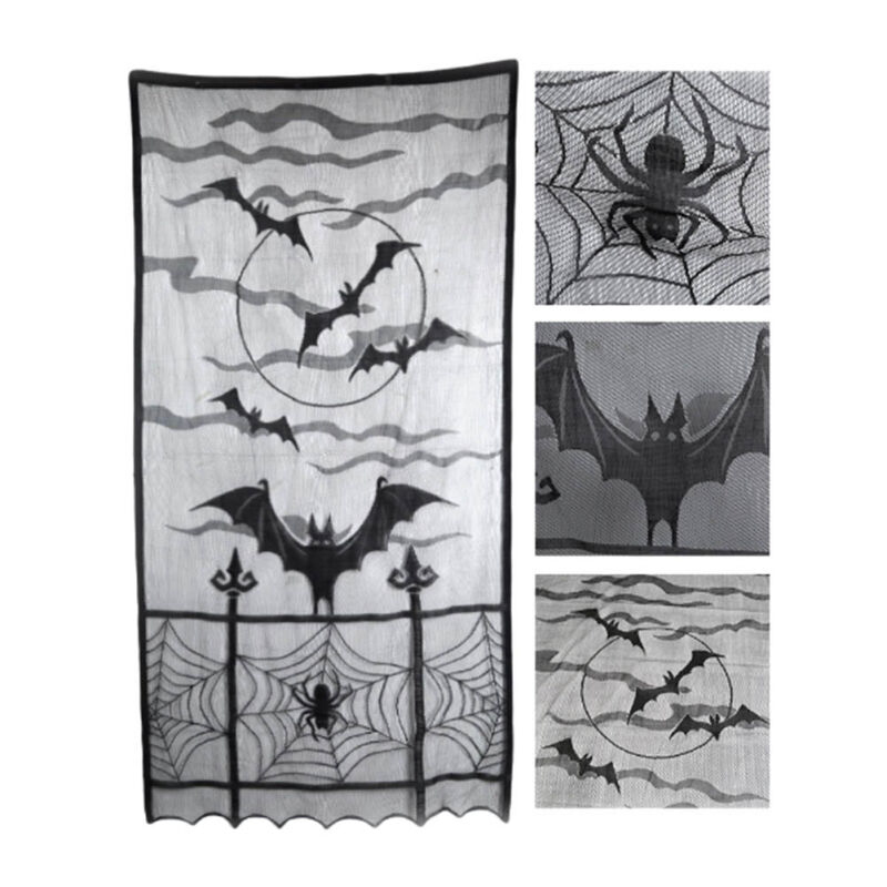 Gothic Decor Black Lace SPIDER WEB TABLE RUNNER Door Topper Window Swag Mantel Scarf Zombie Haunted House Vampire Castle Witch Mansion Spiderweb Halloween