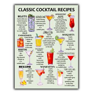 CLASSIC COCKTAIL RECIPES A5 METAL SIGN PLAQUE print Bar Cafe Kitchen Restaurant