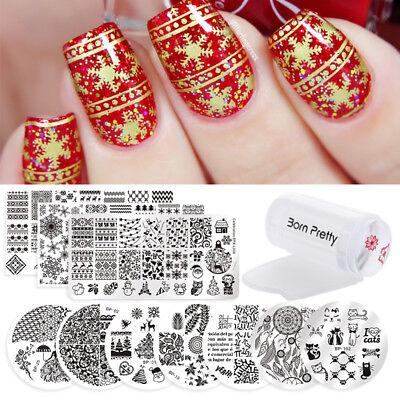 12Pcs Set Born Pretty Christmas Xmas Nail Art Stamping Plate   Stamper   Scraper