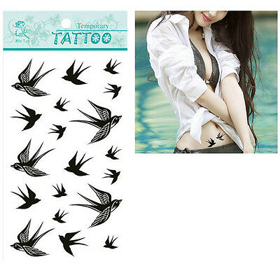 Swallow Bird Flash Removable Waterproof Temporary Tattoo Stickers Body Art QY