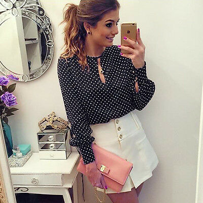 HOT Women Casual Long Sleeve Blouses Summer Chiffon Polka Dots Shirt Tops NEW