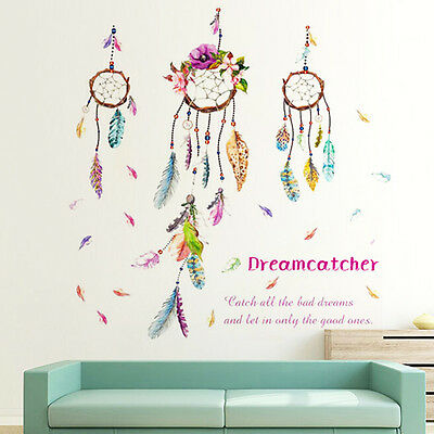 US Feather Flower Home&Room Decor DIY Wall Sticker Removable Acrylic Decal Mural