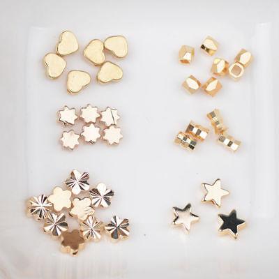 Flower Tube Spacer Beads (18K Gold Heart Star Faceted Tube Flower Charm Bracelet Spacer Beads 4MM 5MM )