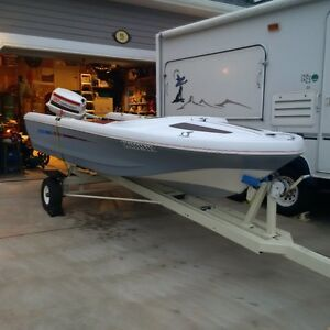 Boat-13ft runabout boat by Leavens Bros-complete with 20HP motor