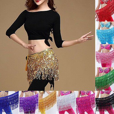 Belly Dance Dancer Costume Sequins Tassel Fringe Hip Scarf Belt Waist Wrap Skirt - Belly Dance Costume