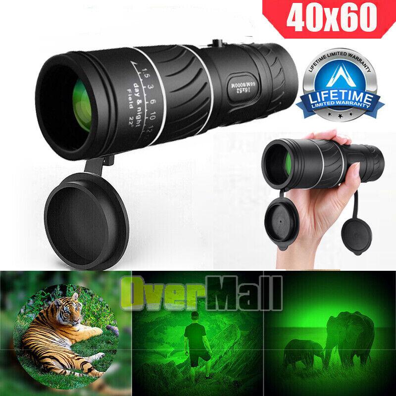 Day Night 40X60 Monocular BAK-4 HD High Power Hunting Hiking Camping Telescope