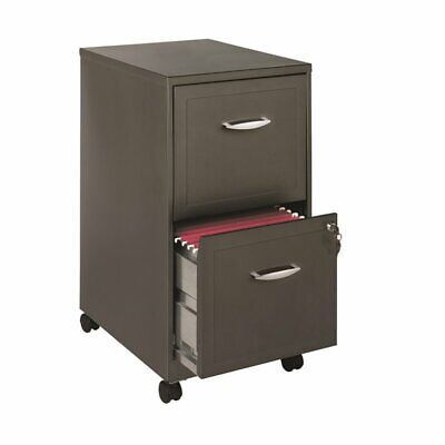 Hirsh 18 Deep 2 Drawer Mobile File Cabinet In Metallic Charcoal