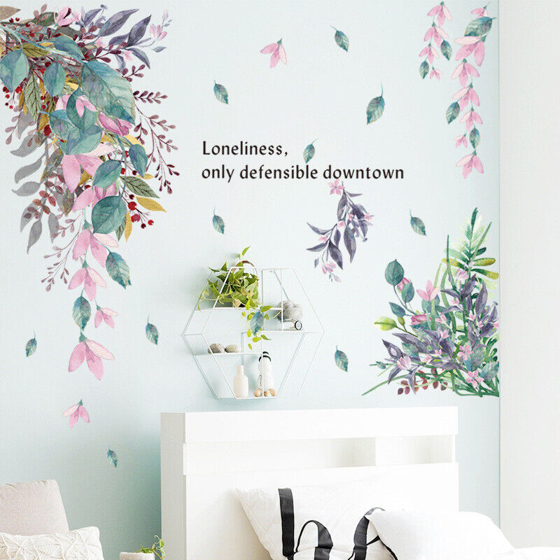Home Decoration - Removable Wall Stickers Foliage Flowers Hanging Leaves Nursery Home Decor DIY