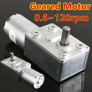 0-6RPM-120RPM-Reversible-Alta-Fuerza-De-Torsion-Turbo-Worm-Caja-Motor-Engranado