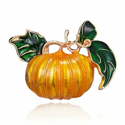 Fashion Pumpkin Crystal Brooch Pin Plant Women Halloween Party Costume Jewelry