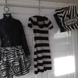 Betsey Johnson wool cashmere striped dress with belt small