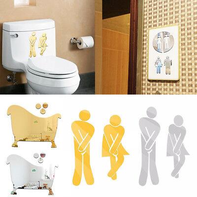 Wc Decor (3D Toilet WC Man Women Decor Removable Decal Vinyl Art Wall Sticker Mirror)