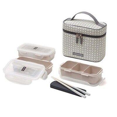 [Lock&Lock] HPL754CI Clover Combo Lunch Box Set with Bag & Chopsticks Ivory