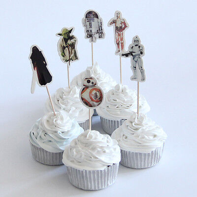 12 x Star Wars  Cake Picks Cupcake Toppers Flags Kids Birthday Party  - Kids Cupcake Wars